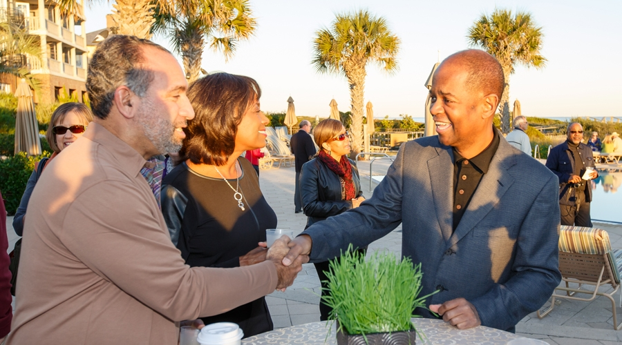 Earl kluge talks with jazz guest at annual weekend of jazz kiawah