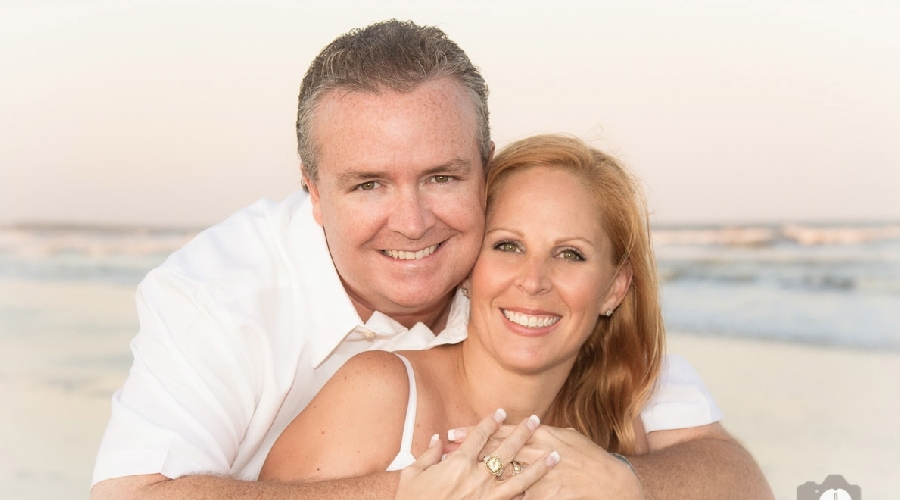 Portrait of couple on beach by photo graphics