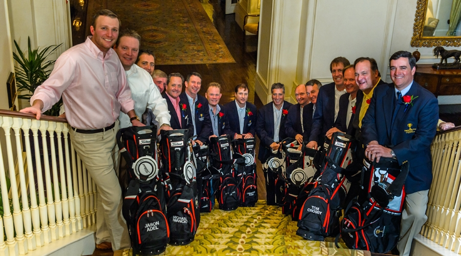 Jacket recipients with their new golf bags at 2014 friendship cup past champions dinner