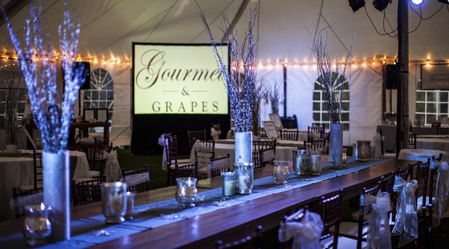 Tables decorated for annual gourmet and grapes auction