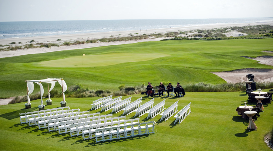 Ocean View wedding ceremony at the ocean course clubhouse