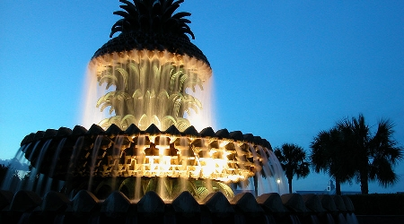 Pineapple fountain evening view in downtown charleston, south carolina