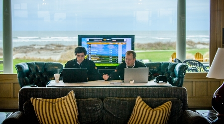 Golf scorekeepers at the ocean course
