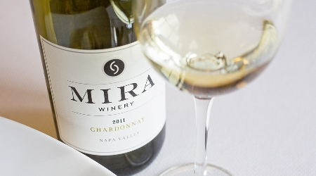 Mira bottle of wine and glass