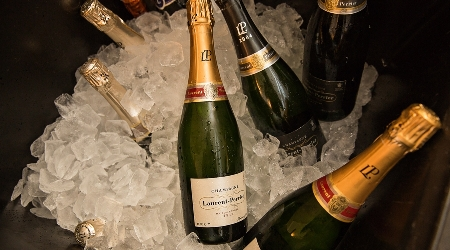 Chilled bottles of champagne