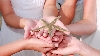Family holds starfish on kiawah island