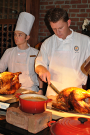 chefs carving turkey