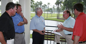 Tom fazio discusses upcoming changes of osprey point with Kiawah's president, roger warren