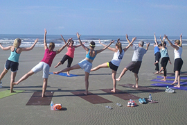 yoga-on-beach at kiawah island