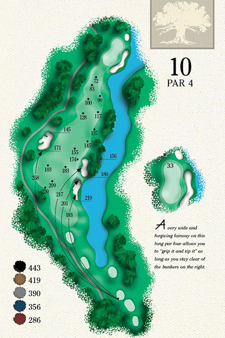 Map of Hole 10 of Cougar Point Golf Course
