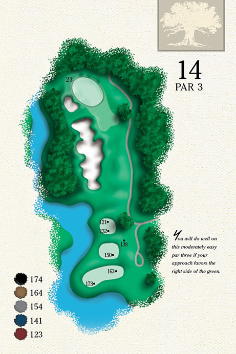 Map of Hole 14 of Cougar Point Golf Course