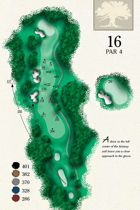 Map of Hole 16 of Cougar Point Golf Course