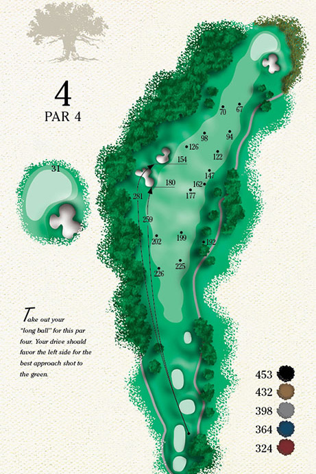Map of Hole 4 of Cougar Point Golf Course
