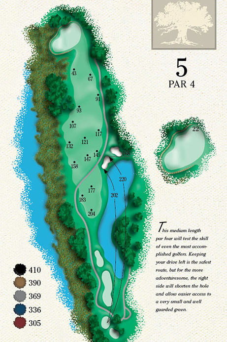 Map of Hole 5 of Cougar Point Golf Course