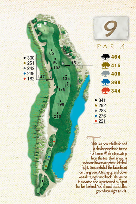 Map of Hole 9 of The Ocean Course