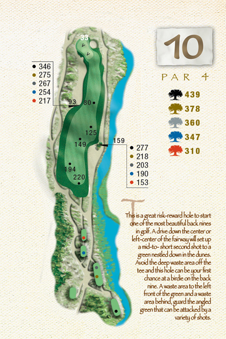 Map of Hole 10 of The Ocean Course