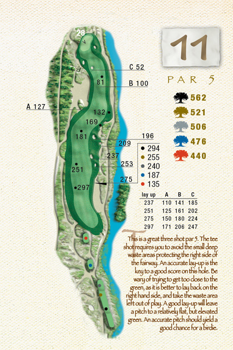 Map of Hole 11 of The Ocean Course
