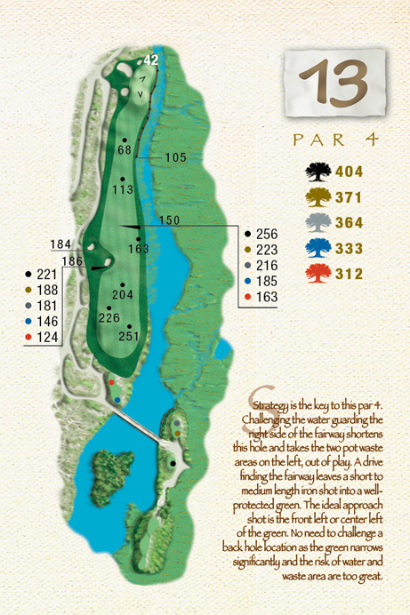Map of Hole 13 of The Ocean Course