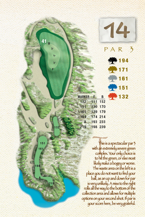 Map of Hole 14 of The Ocean Course