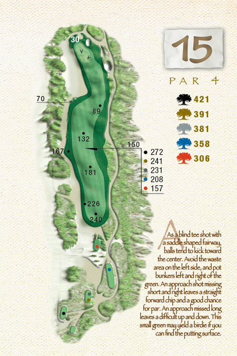 Map of Hole 15 of The Ocean Course