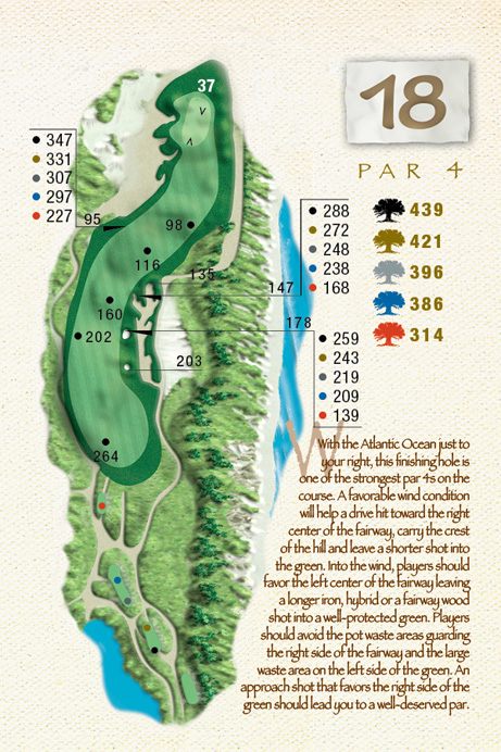 Map of Hole 18 of The Ocean Course