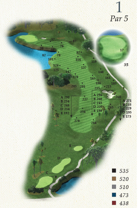 Map of Hole 1 of Oak Point Golf Course