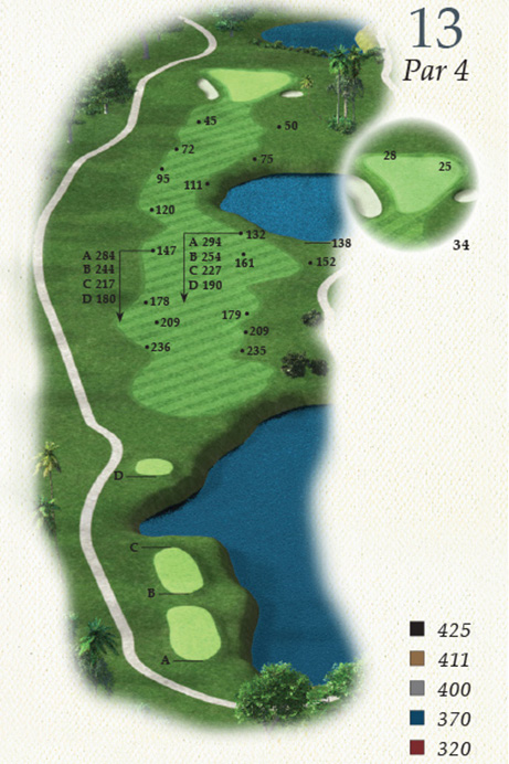 Map of Hole 13 of Oak Point Golf Course