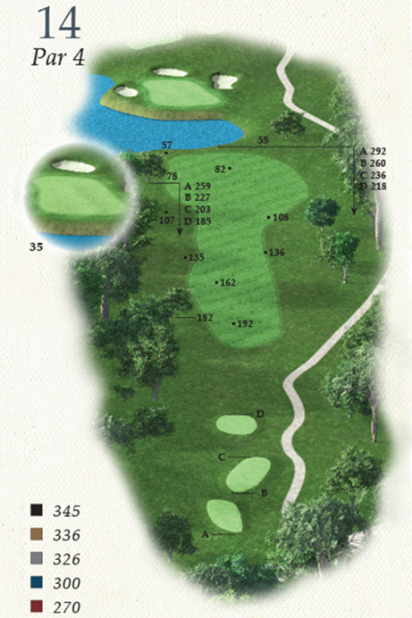 Map of Hole 14 of Oak Point Golf Course