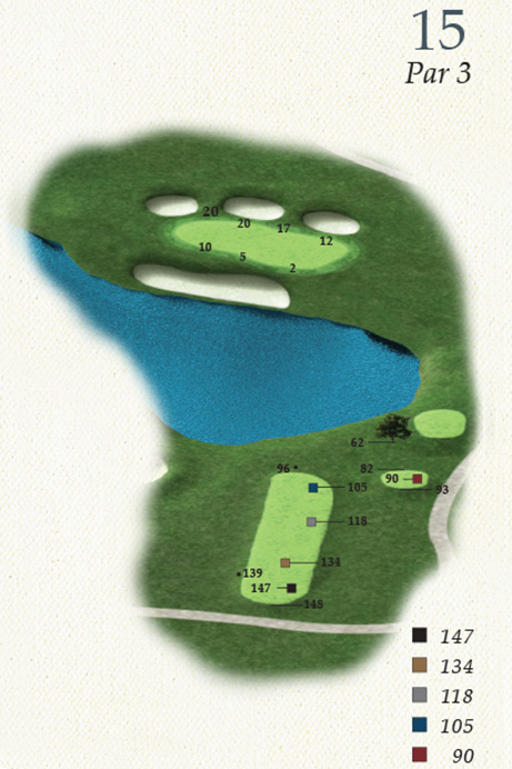 Map of Hole 15 of Oak Point Golf Course