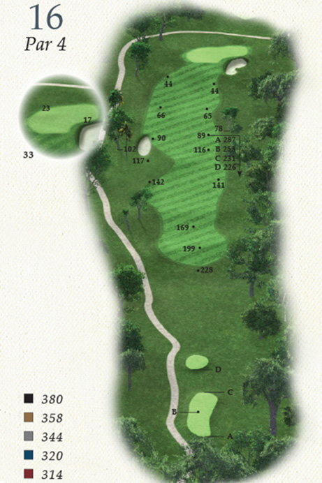 Map of Hole 16 of Oak Point Golf Course