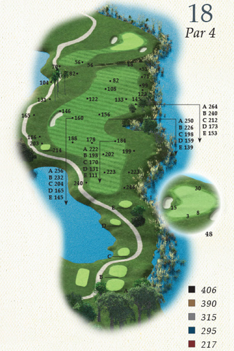 Map of Hole 18 of Oak Point Golf Course