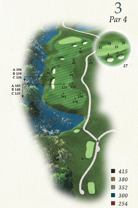 Map of Hole 3 of Oak Point Golf Course