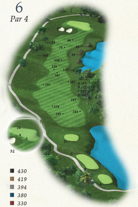 Map of Hole 6 of Oak Point Golf Course