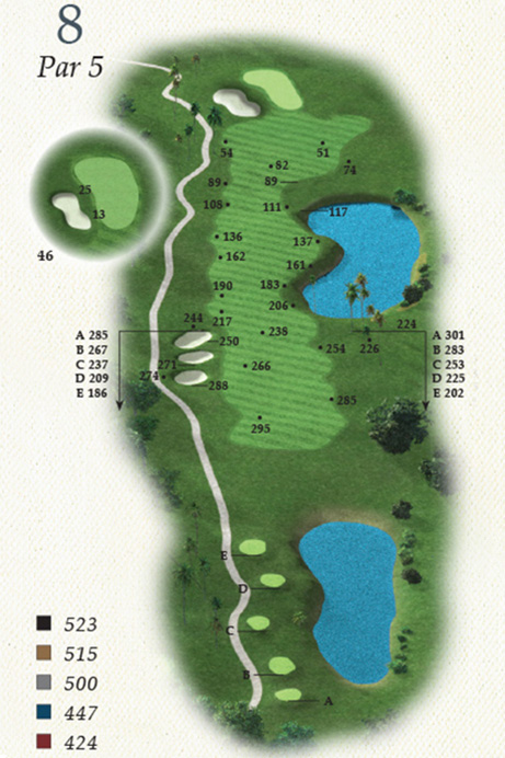 Map of Hole 8 of Oak Point Golf Course