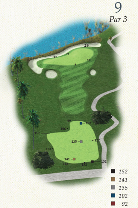 Map of Hole 9 of Oak Point Golf Course