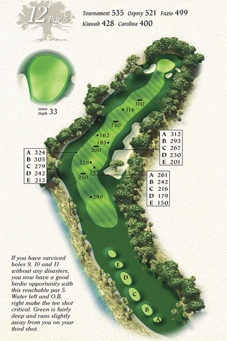 Map of Hole 12 of Osprey Point Golf Course
