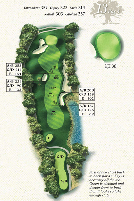 Map of Hole 13 of Osprey Point Golf Course