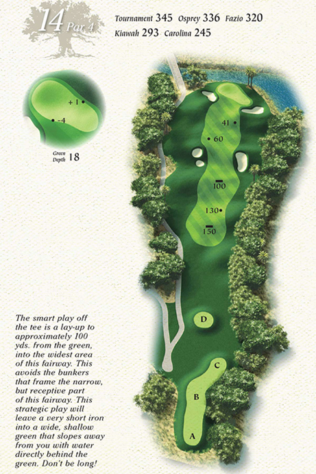 Map of Hole 14 of Osprey Point Golf Course