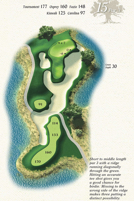 Map of Hole 15 of Osprey Point Golf Course