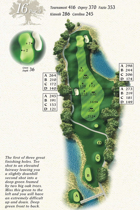 Map of Hole 16 of Osprey Point Golf Course