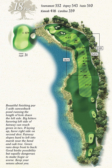 Map of Hole 18 of Osprey Point Golf Course