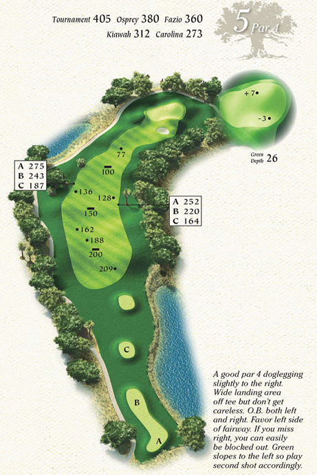 Map of Hole 5 of Osprey Point Golf Course