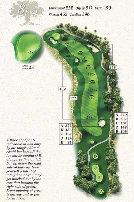Map of Hole 8 of Osprey Point Golf Course