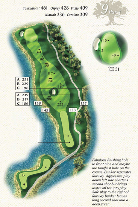 Map of Hole 9 of Osprey Point Golf Course