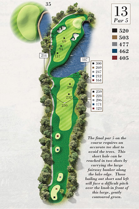 Map of Hole 13 of Turtle Point Golf Course