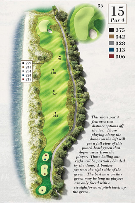 Map of Hole 15 of Turtle Point Golf Course