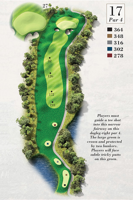 Map of Hole 17 of Turtle Point Golf Course