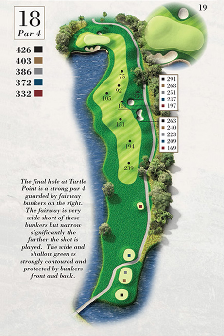 Map of Hole 18 of Turtle Point Golf Course