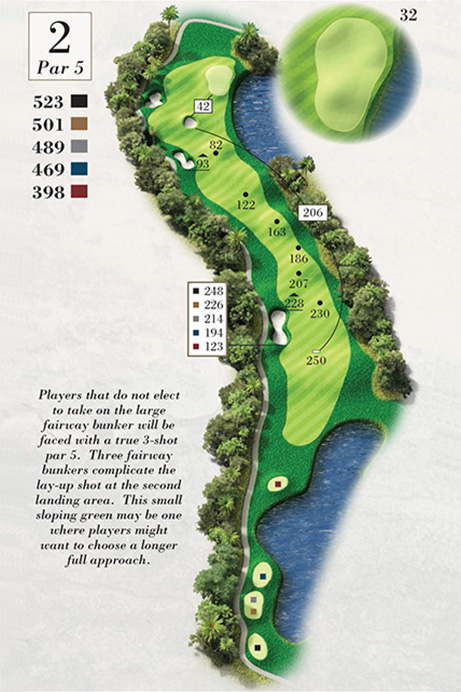 Map of Hole 2 of Turtle Point Golf Course