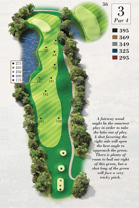 Map of Hole 3 of Turtle Point Golf Course
